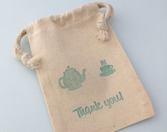 Tea Party Favor Bag with Teapot and Tea Cup Design: Muslin Drawstring Favor Bag
