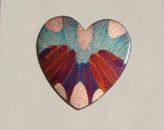 Flame painted copper Heart lg, pin