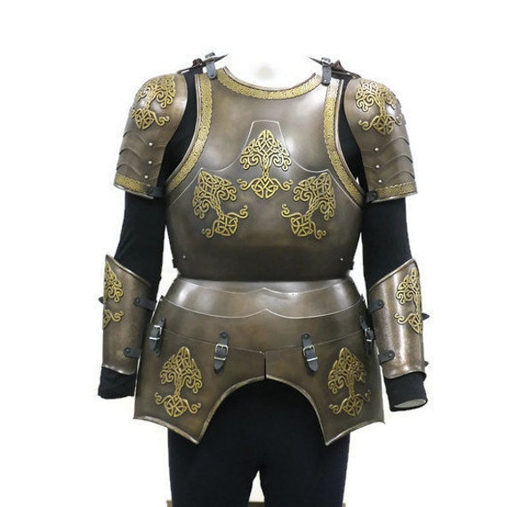 Larp Armor Celtic Tree Yggdrasil armour set, cuirass, SCA, LRP, Theatrical