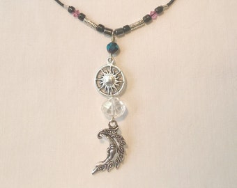 Beautiful Wiccan Sun and Moon Crystal Necklace