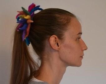 Colourful rainbow needle felted  hair band Hair Accessories