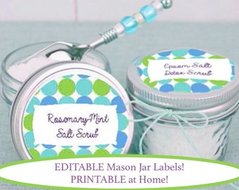 EDITABLE and PRINTABLE Mason Jar Labels; Polka Dot; Canning Jar; Bath Salts; Sticker; Compatible with Avery Products