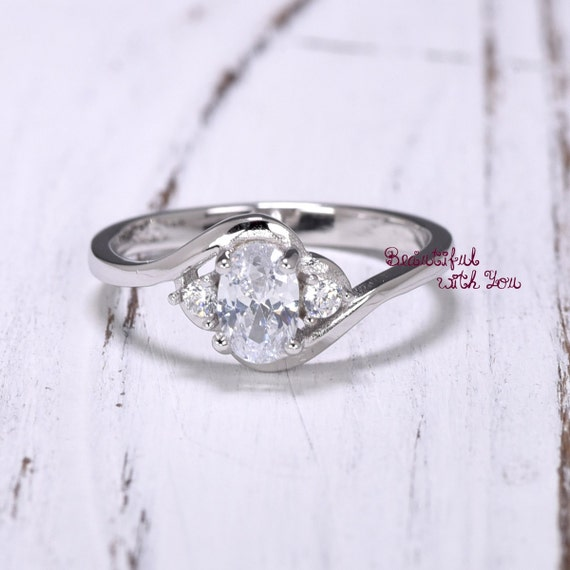 Oval Engagement Rings Womens Sterling Silver by BeautifulWithYou