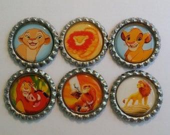 Set of 6 Disney The Lion King themed Finished Bottle Caps - Magnet Set - Necklace Set