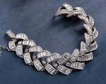 Art Deco Wedding Bracelet, Vintage Bracelet, 1930s Bracelet, Silver Bracelet, Wedding Jewelry, Bridal Jewelry, Bride Bracelet BR763