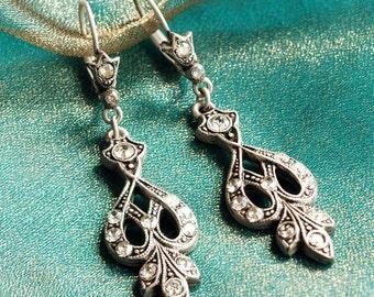 Art Deco Wedding Earrings, Bridal Earrings, 1920s Wedding Earrings, Vintage Bride Earrings, Crystal Wedding Jewelry, Wedding Earrings E1226