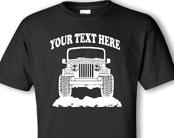 TJ Wrangler Jeep  Personalized T-Shirt!  UNISEX 100% Cotton Preshrunk T-shirts - #TOR024