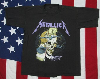 "Vintage 1980's Very Rare Metallica ""Damaged Justice"" Tour Shirt Large Concert Pushead Track Listing And Justice For All Thrash Metal Rock"