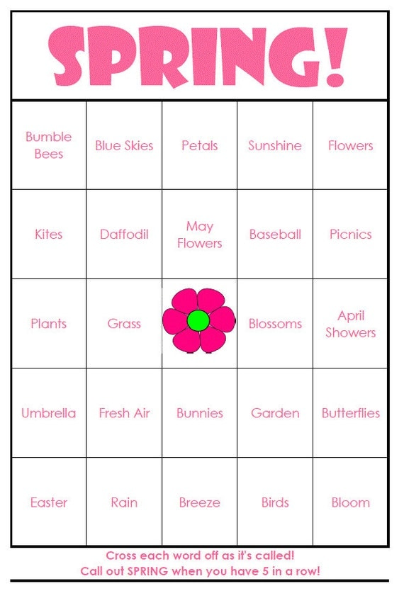 Spring Bingo Cards Digital File 40 Cards