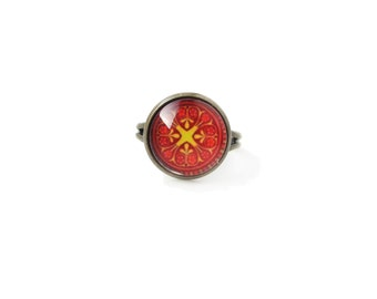 Abstraction small adjustable ring, 12mm glass dome photo cabochon, bezel ring, statement ring, red and yellow