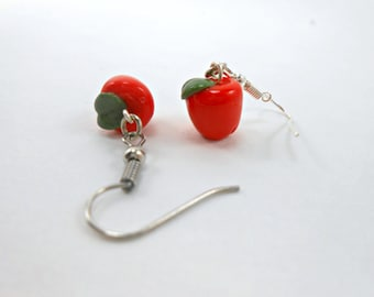 Red Apple Earrings Teacher Gift apple jewelry fall apple orchard teacher jewelry autumn back to school fruit earrings