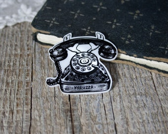 Retro Telephone Brooch,Laser Cut Telephone Brooch,Rotary Phone Badge,Telephone Lapel Pin,Illustration Brooch,Plastic Brooch,original gift