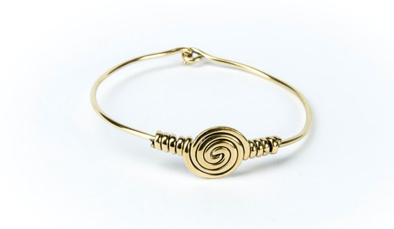 Spirals Circle Design Bangle / Bracelet Handmade Brass Eternity Jewelry  Gift Boxed + Giftbag + Free UK Delivery
