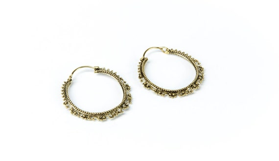 Brass Swirl Delicate Filigree Design Hoop Earrings Tribal Earrings Tribal Jewlry Free UK Delivery Gift Boxed BG3