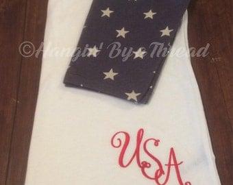 American Flag Shirt Monogrammed Star Sleeve Raglan Tshirt Hangin' By a Thread
