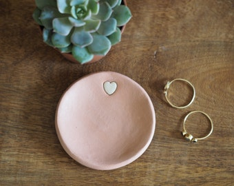 Clay Ring Dish   Rose Gold Wedding Ring Holder   Rose Gold Ring Dish With  Heart