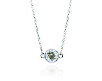 Pretty White Topaz Silver Necklace