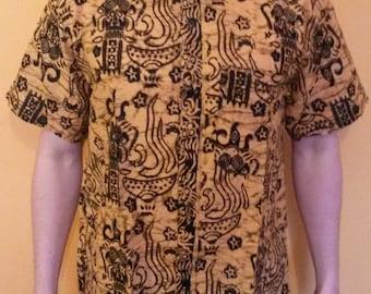 Mens Traditional Batik Shirts Short Sleeve Cool Cotton Summer Shirts M L XL XXL