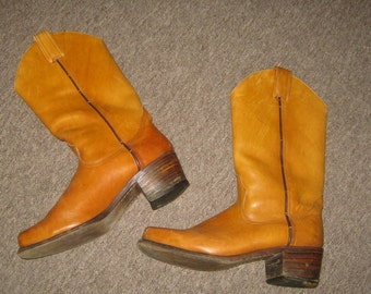 Vintage 80's all leather Cowboy Boots size 7.5 - 8 UK/ 41-2