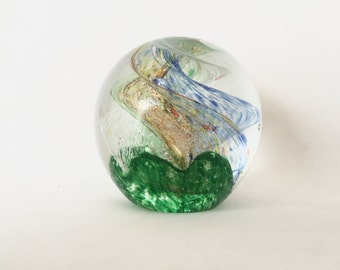 Vintage Glass Paperweight / Large Multicolor Globe /  Swirl Glass Ball Paper Weight / Desk Accessory / Round Table Paperweight Decor