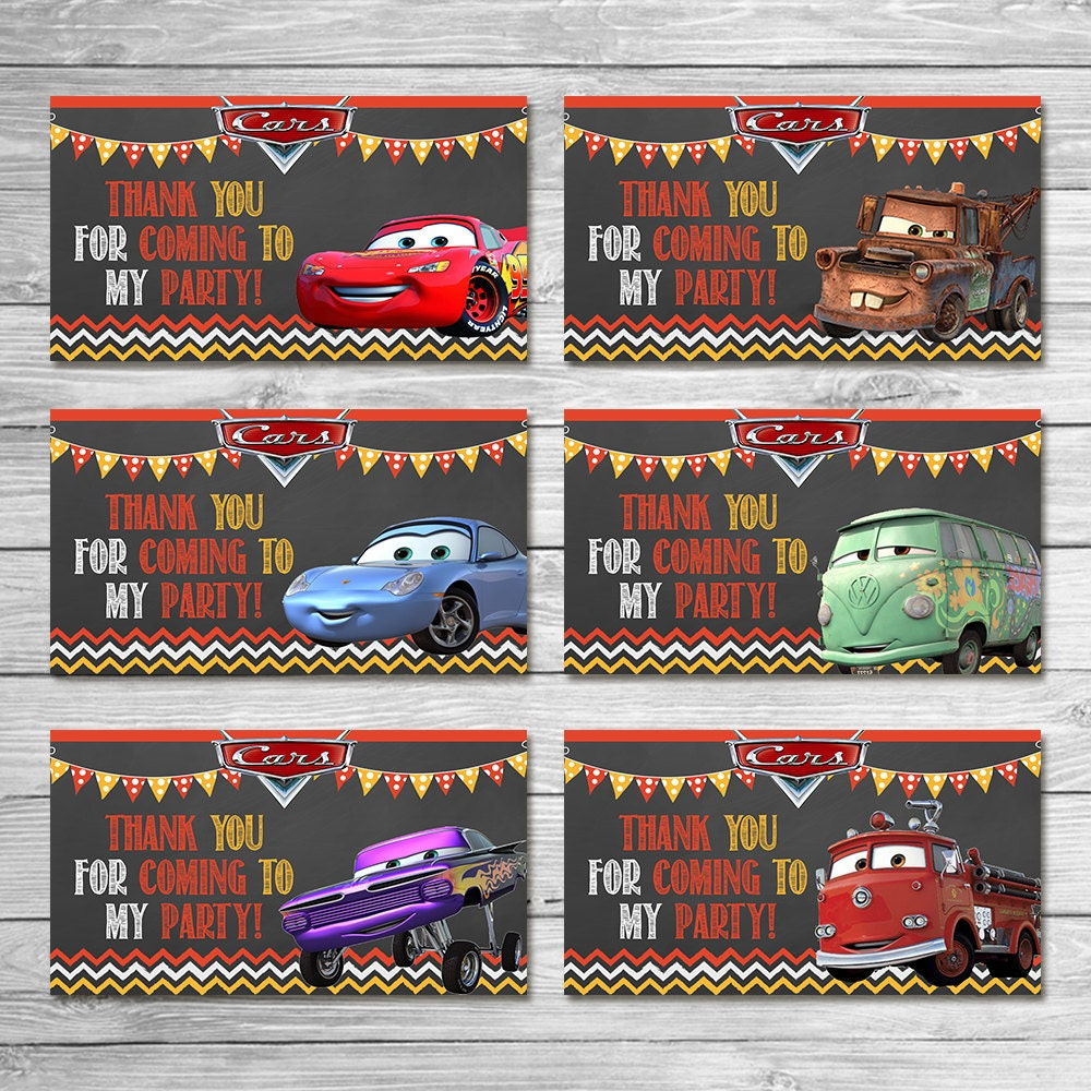 Disney Cars Party Tags Chalkboard Cars Goody Bag Tags