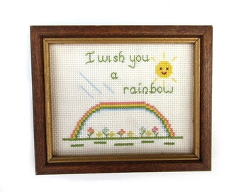 Vintage rainbow cross stitch, april showers may flowers, spring wildflower art, happy smiling sun nursery decor