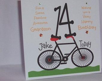 Personalised Handmade Grandson 14th Bicycle Birthday Card