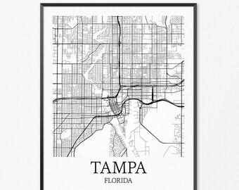 Tampa Map Art Print, Tampa Poster Map of Tampa Decor, Tampa City Map Art, Tampa Gift, Tampa Florida Art Poster
