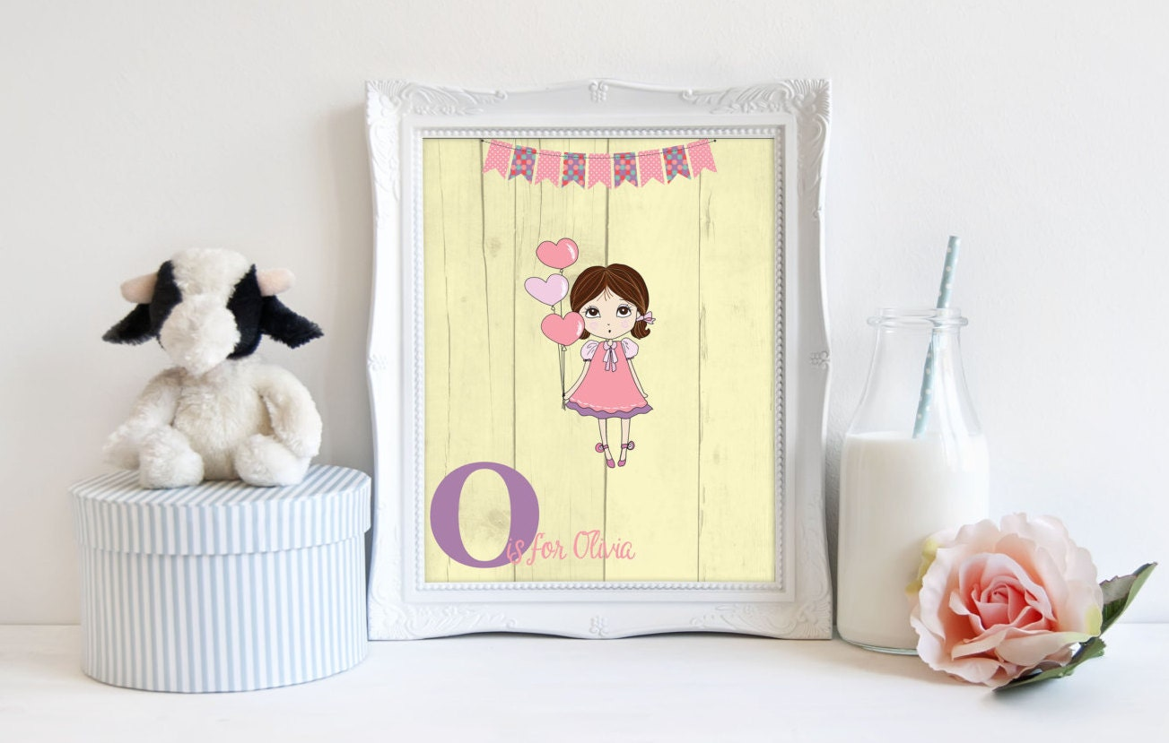 Nursery monogram print baby girl printable sign nursery for Baby name nursery decoration