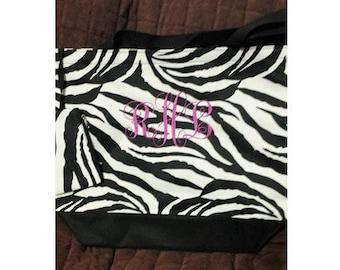 Monogram Tote, Personalized Tote, Zebra, Tote, Monogram Bag