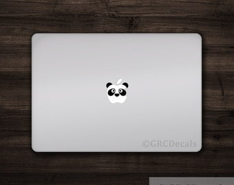 Panda Face - Mac Apple Logo Cover Laptop Vinyl Decal Sticker Macbook Unique Animal Jungle Bamboo Kung Fu