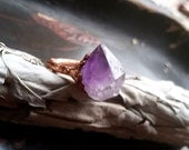 amethyst point copper ring - electroformed jewelry - copper ring - molten copper- crystal ring - magick