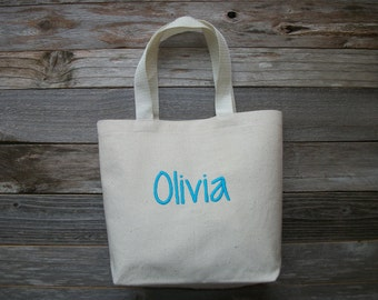 Monogrammed Bag/Mini Canvas Tote Bag, Embroidered (Choose Your Name Color!)  ***Up to 7 Letters ONLY!