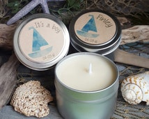 Set of 12 Baby Shower Candles - Nautical Baby Shower - Sailing - Its a boy - Custom Baby Shower Candles - 4 oz Mini Tin Soy Candles