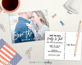 "Printable Save the Date Postcard // 4.25x5.5"" // The Emily Collection // Photo Save the Date"