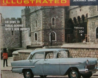 Foreign Cars.Vintage Magazine.1950s. Collectible.Rare.Classic cars.First edition.Printed in USA.For him.Blue.Grey.Cars.Volkswagen.