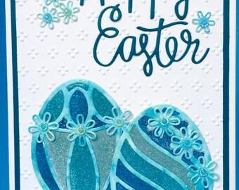 Glittered Easter Egg Card, Happy Easter Card, Handmade Card, Hand Made Card, Luxury Easter Card, Fancy Easter Card,  3D Easter Card,