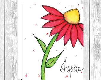 "NOTECARD: Inspire Red Daisy; Red and Yellow Flower 4.25"" x 5.5"" A2 Greeting Card, Gift for Her, Gift for Friend, Mom Gift, Flower Lover"