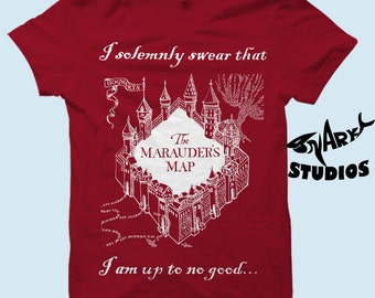 """Harry Potter - Marauder's Map """"I Solemnly Swear That I Am Up To No Good"""" T Shirt"""
