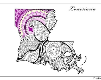 Louisiana State Map Adult Coloring Page Printable July 4th Art Zentangle Pages
