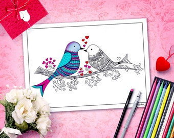 valentine coloring pages printable for adults, diy valentines, printable women gift, colouring books, zentangle inspired doodle download