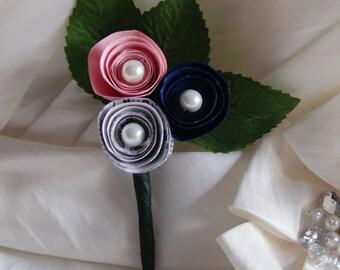 Paper flower wedding buttonhole - Music/navy/pink