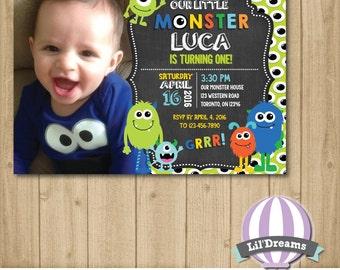 Little Monster invitation, birthday invitation, lil monster, roar, printable, first birthday,  JPEG/PDF Digital 4x6 or 5x7