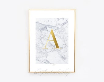 Custom Monogram Initial Letter Printable Gold foil Initial letter white Marble print Instant download Gold letter printable art
