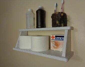 Shelf - Bathroom Shelf - Storage - Distressed White Finish - Ready To Hang