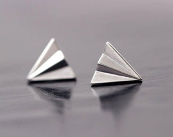 Paper Plane Stud Earrings,Sterling Silver Earrings,Paper Plane Earrings,Plane Earrings,Cute Stud Earrings,Kawaii Earrings,Girls gifts