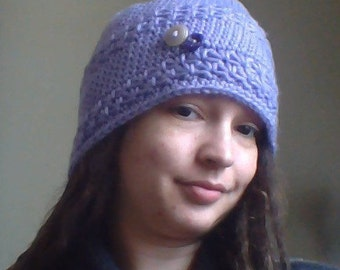 Purple Flower Slouchy Hat w/ Buttons