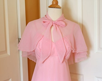 Power Pink 1970's Prom Dance Valentine's Maxi Ball Gown with Shawl/Caplet