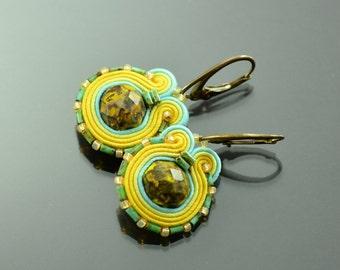 Small Green Soutache Earrings Humming-bird - Miny Yellow Soutache Earrings - Green Soutache Jewelry, Orecchini Sutache Small Ethnic Earrings