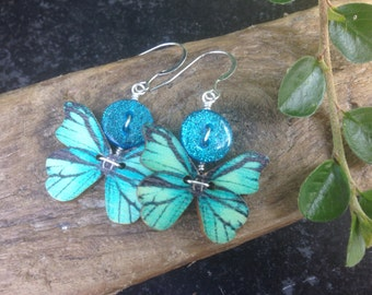 Blue green turquoise teal butterfly drop earrings - pretty delicate quirky - retro rockabilly pinup style - gift  - button jewellery UK